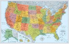 Map of the United States Rand McNally US Countries Large Wall Poster 50 x 32