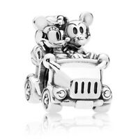 925 Sterling Silver Disney Mickey Minnie Mouse Vintage Car Charm fits European