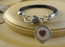 ROSE GOLD HEART snap button Black leather Bracelet jewelry gift for women