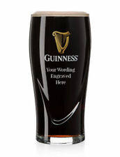 More details for personalised one pint guinness gravity beer glass with gold harp engraved gift