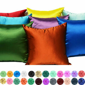 Cushion Cover Pillow Case Throw 18x18 Soft Decorative Solid Satin Pillow Square