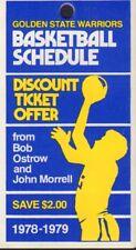1978-79 Golden State Warriors Basketball Schedule jhhp