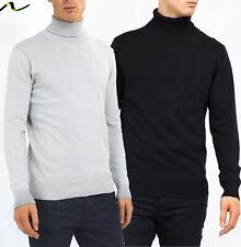 Neuf Hommes Col Roulé Polo Léger Coton Tricot Pull Par Brave Soul Noir