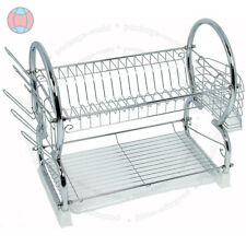 2 TIER CHROME PLATE DISH CUTLERY CUP DRAINER RACK DRIP TRAY HOLDER WHITE DCUK