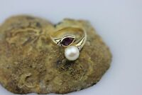 PRACHTVOLLER Ring aus 585er GELBGOLD I besetzt mit Perle, Amethyst und Diamanten