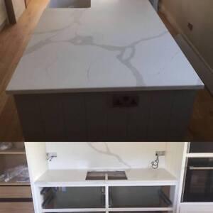 luxury Siena calacatta quartz marble kitchen worktops white and grey