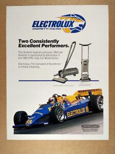 1985 Electrolux Diamond Jubilee Vacuum Cleaner indy car photo vintage print Ad