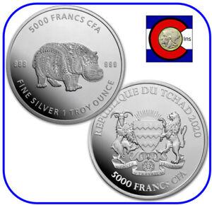 2020 Chad Mandala Hippo 1 oz Proof-Like Silver Hippopotamus Coin w capsule