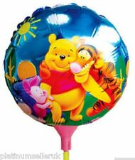 (SET OF 10) WINNIE-THE-POOH ROUND FOIL BALLOONS WITH STICKS **PARTY SUPPLIES**