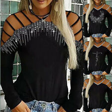 Womens Casual Sequin Cold Shoulder Blouse Ladies Long Sleeve V Neck Shirts Tops