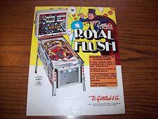 Gottlieb ROYAL FLUSH Original 1976 Flipper Game Pinball Machine Promo Sale Flyer