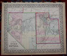 Utah and Nevada Rare Original Antique 1870 Mitchell's Atlas Map