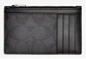 COACH Men's Signature Coated Canvas & Refined Calf Leather Zip Card Case Blk NWT