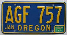 Oregon 1974 License Plate HIGH QUALITY # AGF 757