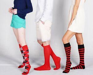 Mysocks Unisex Knee High Argyle,Plain, Stripe Design Combination 3 Pair Socks