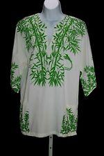 Vintage 70s Sun Island Green White Jamaica Bamboo Print Dashiki Tunic Top Large