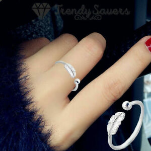 100% 925 Sterling Silver Adjustable Open Rings Women Feather Thumb Stackable