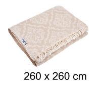 Plaid Tagesdecke BAROCK KING SIZE beige Couchdecke Sofa Decke 260 x 260 Cotton