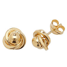 Unique Wishlist 9ct Yellow Gold Plain Fancy Knot Style Studs *ES366