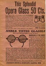 1922 small Print Ad of Amber Tinted Sun Glasses & Splendid Opera Glass