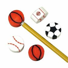 12  Sports  Eraser Pencil Top Party Favors  Baseball & Basketball