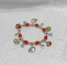 FOOTBALL, HELMET & TOUCH DOWN CHARM BRACELET - RED BEADS - STRETCHY