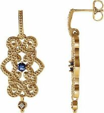 Tansanit & Diamant granuliert Design Lang Ohrringe 14K GELBGOLD