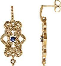 Tanzanite & Diamond Granulated Design Dangle Earrings In 14K Yellow Gold