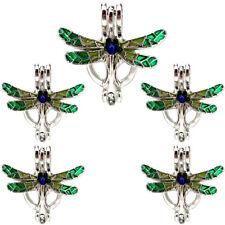 (5 Pack) Enamel Dragonfly Beauty Animal Pearl Beads Cage Locket Pendant K1049