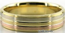 18K THREE TONE GOLD MENS WEDDING BAND RING 6MM