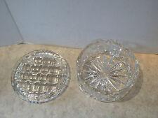 Vtg Heavy Pressed Glass Basket Weave Star Burst Pattern Dresser Jar Trinket Box