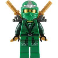 LEGO NINJAGO MINIFIGURE LLOYD ZX (2) GOLD SHAMSHIR SWORDS GREEN NINJA WITH ARMOR