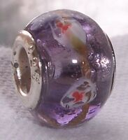 Lavender Foil Red White Pattern Glass Bead fits Silver European Charm Bracelets