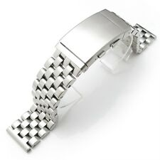 22mm Super Engineer Solid Stainless Steel Straight End Watch Band Ratchet buckle