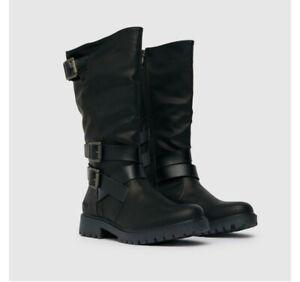 Blowfish Ladies Renae  Vegan Black  Biker  Buckle Boots Hi Leg Size UK 5 NEW