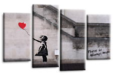 """Banksy Wall Art Grey White Red Girl Balloon Canvas Abstract Split 44 X 27"""""""