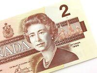 1986 Canada 2 Dollars AUA Circulated Canadian Crow Bouey Banknote M946