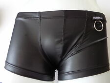 Men Underwear BOXER shiny WETLOOK Latex Leather look BDSM ring Black or Gold