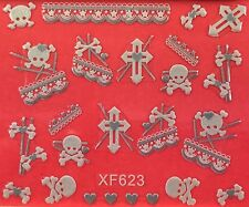 Nail Art 3D Decal Stickers Halloween Skull Bones Cross Heart Lace Ribben XF623