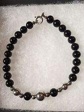 "Sterling Silver Black Onyx Bead Bracelet 925 Clasp 7.5"""