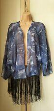 ■ Bnwt(£24) Quirky Blue/ Floaty Kimono/Jacket Fringed Edging. (P176)