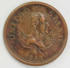 1863 US Civil War Token CWT United We Stand Broas Brothers Pie Bakers