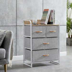Fabric Bedside Cabinet Table Metal Frame Storage Unit Organiser Chest of Drawers