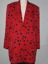 LIZ CLAIBORNE Size 10 Red 100% Silk Polka Dot Unlined Blazer