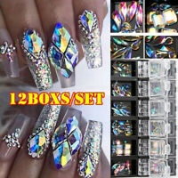 3D AB Diamond Gem Nail Glitter Rhinestone Glass 12 Grids Nail Art Decor Charm Sd
