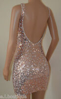 VICKY MARTIN copper gold sequin backless open low back mini party dress 10 BNWT