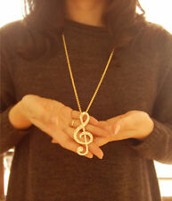 Celebrity Punk Cool Gold Music Note Rhythm Crystal Sweater Necklace Pendant