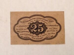 ~US FRACTIONAL CURRENCY FR1282SP 25¢ REVERSE FIRST ISSUE  WITHOUT MONOGRAM