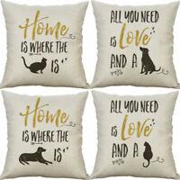 Pillow Sofa Print Case Home Decor Cushion Cover Letters  Cotton Linen  18''
