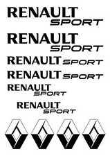 Kit de 10 Sticker Logo + RENAULT SPORT  Couleur NOIR Clio 1 2 3 4